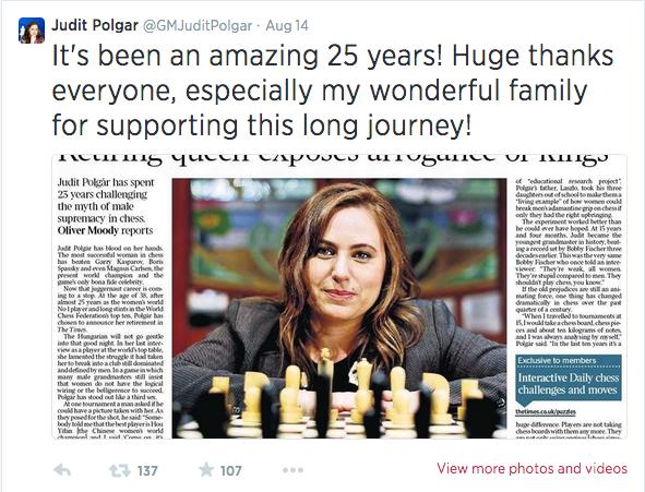 Se retira Judit Polgar, la mayor ajedrecista de todos los tiempos.